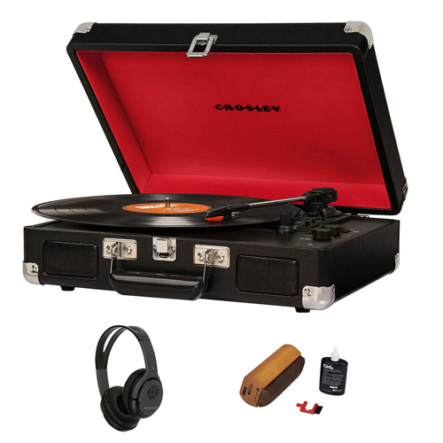 Crosley Cruiser Portable Turntable w/ Bluetooth + Wireless Headphones Bundle
