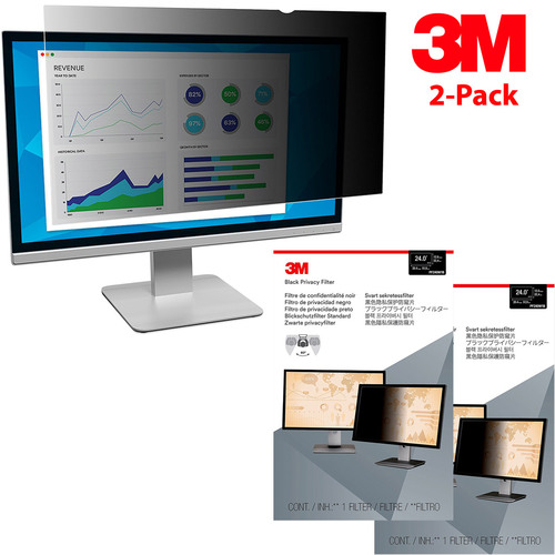 3M 2-Pack Privacy Filter for 24` Widescreen Monitor (16:10) (PF240W1B)