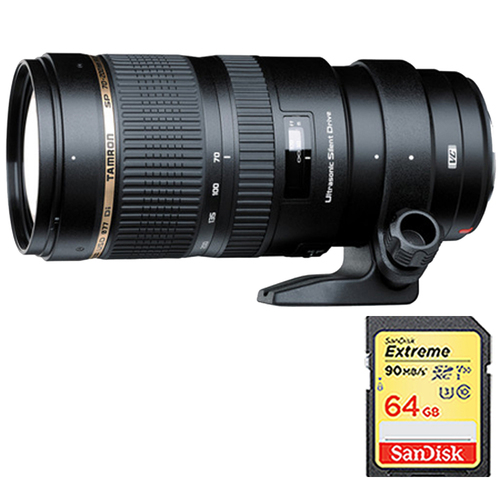 Tamron SP 70-200mm F/2.8 DI VC USD Zoom Lens For Canon EOS w/ 64GB Memory Card