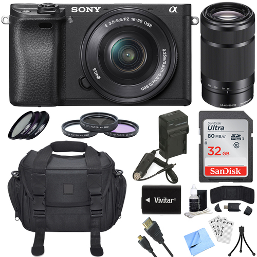 Sony ILCE-6300 a6300 4K Mirrorless Digital Camera w/ 16-50mm + 55-210mm Lens Bundle