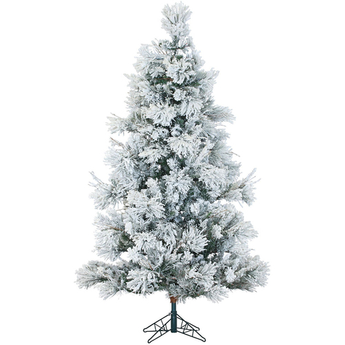 Fraser Hill Farm 12 Ft. Flocked Snowy Pine Christmas Tree with Multi LED Lighting - FFSN012-6SN