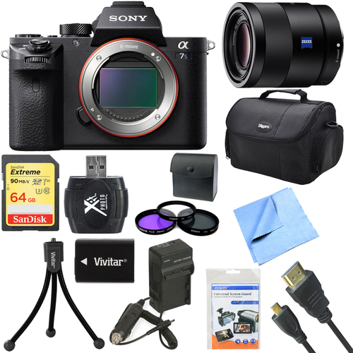 Sony a7S II Full-frame Mirrorless Interchangeable Lens Camera Body + 55mm Lens Bundle