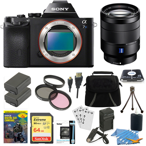 Sony ILCE-7S/B a7S Full Frame Camera, 24-70mm Lens, 64GB SDXC Card, 2 Battery Bundle