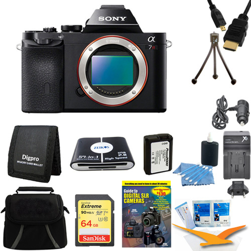 Sony Alpha 7R a7R Digital Camera 64GB SDXC Card and Battery Bundle
