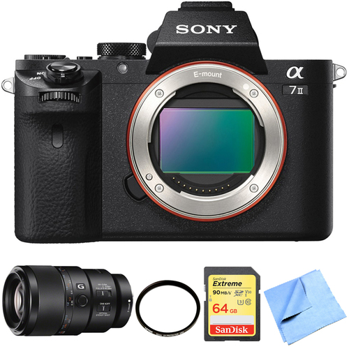 Sony Alpha 7II Mirrorless Interchangeable Lens Camera Body 90mm Macro Lens Bundle