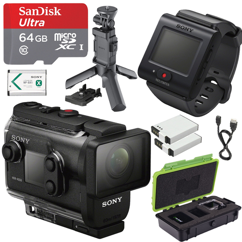 Sony HDRAS50R/B Full HD Action Cam + Live View Remote w/ Shooting Grip and 64GB Kit
