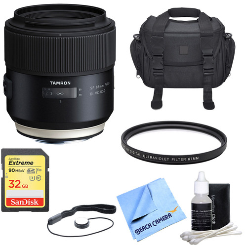 Tamron SP 85mm f1.8 Di VC USD Lens for Canon Full-Frame EF Mount Cameras with Bundle