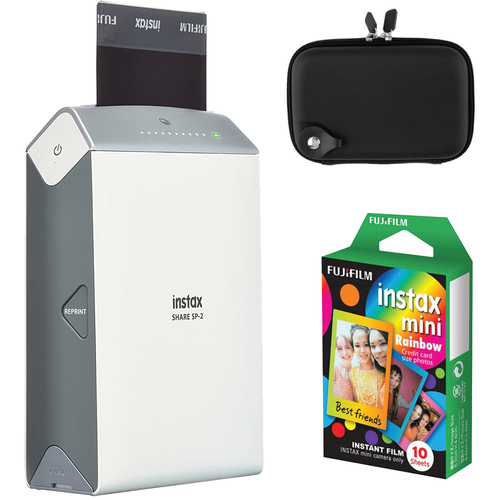 Fujifilm Instax Share Smart Phone Printer SP-2 w/ Carrying Case + Rainbow Instant Film
