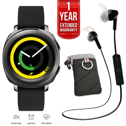 Samsung Gear Sport Watch (Black) with Case, Bluetooth Earbuds, Extended Warranty