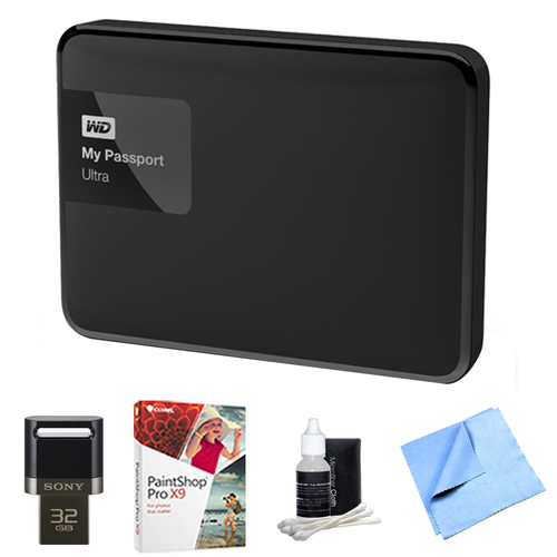 Western Digital My Passport Ultra 3 TB Portable External Hard Drive, Black w/ Flash Drive Bundle