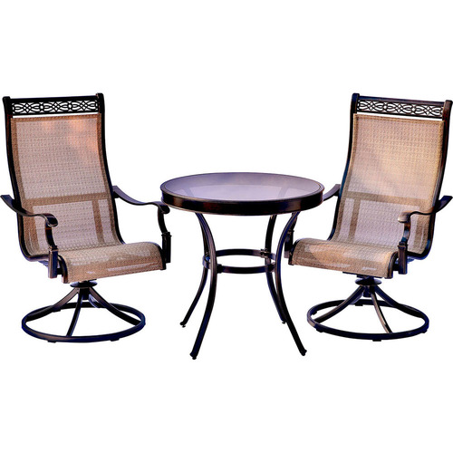 Hanover Monaco 3PC Bistro Set: 2 Swvl Sling Chairs and 30  Glass Table