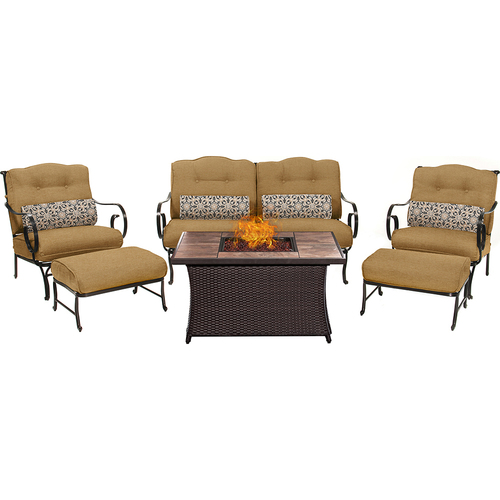 Hanover Oceana 6pc Fire Pit Set with Tan Tile Top