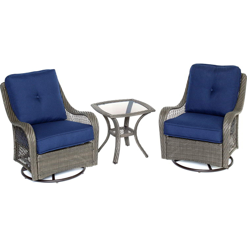Hanover Orleans 3pc Seating Set: 2 Swivel Rockers 1 Side Table