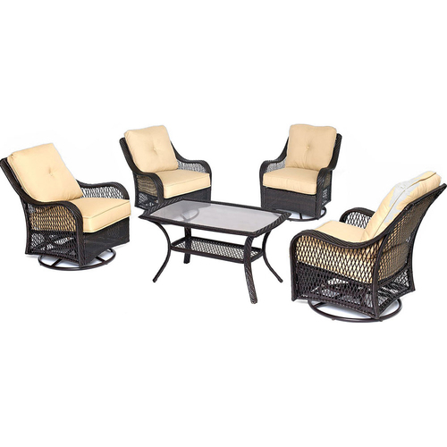 Hanover Orleans 5PC Swivel Set: 4 Swivel Chairs 1 Coffee Table