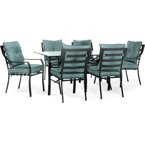 Hanover 7pc Dining Set: 6 Stationary Chairs 1 Dining Table