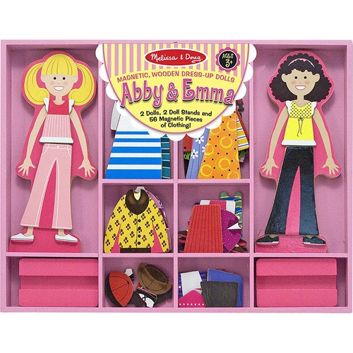 Melissa & Doug Abby & Emma Magnetic Dress-Up Set, Wooden Dress-Up Dolls