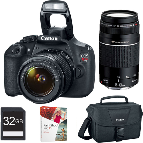 Canon EOS Rebel T5 18MP DSLR w/ 18-55 II & 75-300 III IS Lenses Bundle Deal