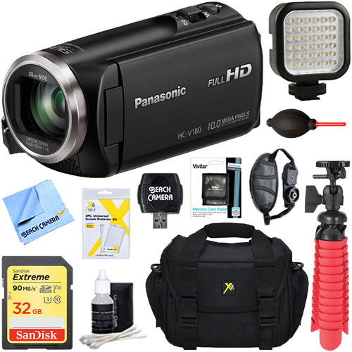 Panasonic HC-V180K Full HD Camcorder with 50x Stabilized Optical Zoom + 32GB Deluxe Bundle