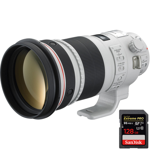 Canon EF 300mm f/2.8L IS II USM + Extreme PRO SDXC 128GB UHS-1 Memory Card