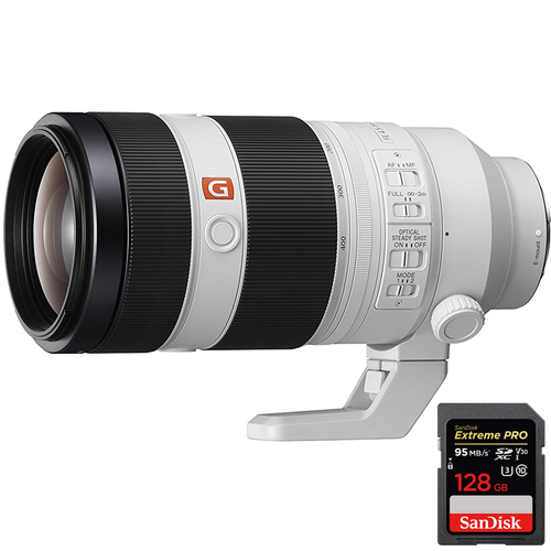 Sony FE 100-400mm f/4.5-5.6 GM OSS Full Frame E-Mount + 128GB UHS-1 Memory Card