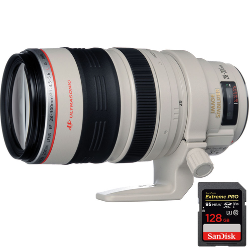 Canon EF 28-300mm IS L USM Lens + Extreme PRO SDXC 128GB UHS-1 Memory Card