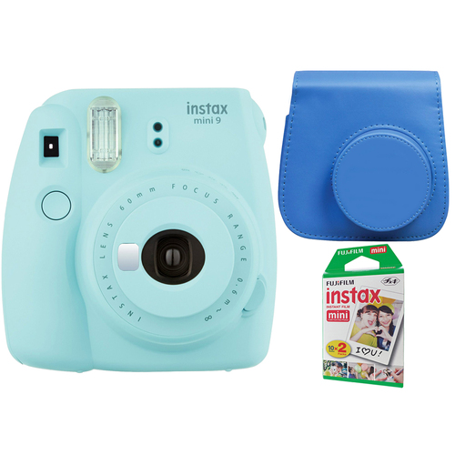 Instax Mini 9 Instant Camera - Ice Blue w/ Case + 2-Pack Instant Film