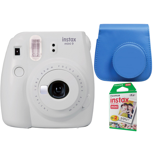 Instax Mini 9 Instant Camera - Smokey White w/ Case + 2-Pack Instant Film