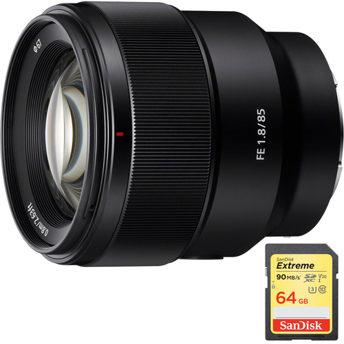 Sony FE 85mm F1.8 Full-frame E-mount Fast Prime Lens with 64GB Extreme SD Memory Card
