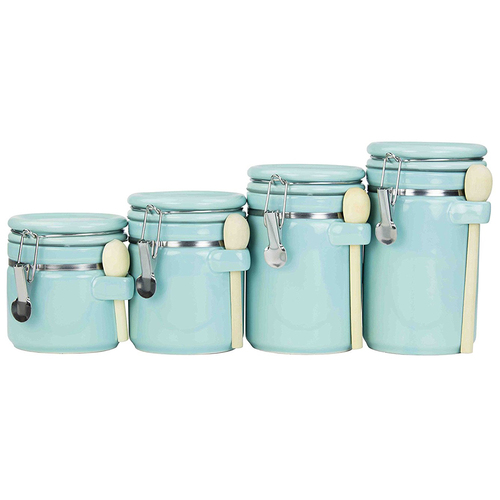 Home Basics CS47190 4PC Ceramic Canister Set W/Spoon (Turquoise)