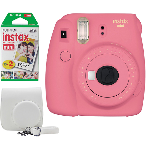 Instax Mini 9 Instant Camera Bundle w/ Case and Film - Flamingo Pink