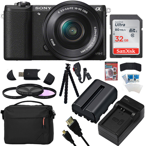 Sony a5100 Mirrorless Camera w/ 16-50mm Lens 32GB Black Bundle