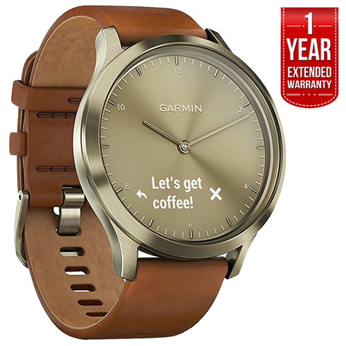Garmin Vivomove HR, Premium, Gold Tone w/ Leather Band + Extended Warranty