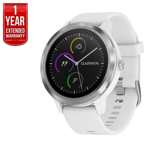 Garmin Vivoactive 3 GPS Fitness Smartwatch (White & Stainless) + Extended Warranty