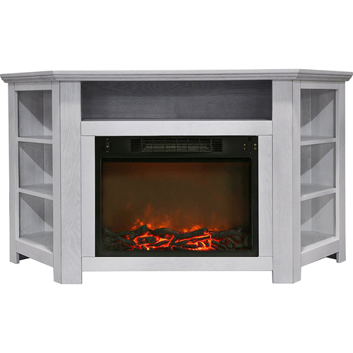 Cambridge 56 x15.4 x30.4  Stratford Fireplace Mantel with Logs Insert White