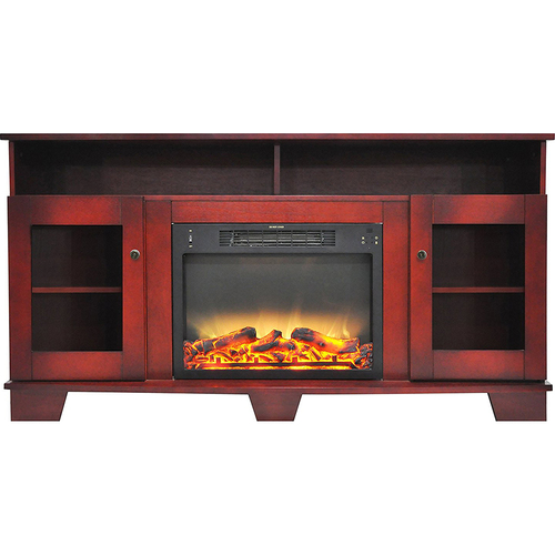 Cambridge 59.1 x17.7 x31.7  Savona Fireplace Mantel with Logs and Grate Insert Cherry