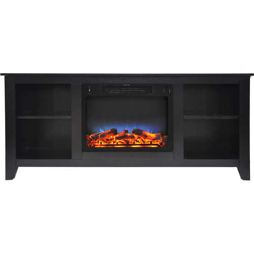 Cambridge 62.8 x15.2 x26.5  Santa Monica Fireplace Mantel with LED Insert Black Coffee