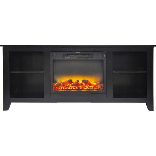 Cambridge 62.8 x15.2 x26.5  Santa Monica Fireplace Mantel with Logs and Grate Insert