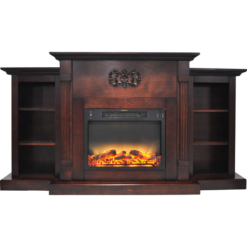Cambridge 72.3 x15 x33.7  Sanoma Fireplace Mantel with Logs and Grate Insert Mahogany