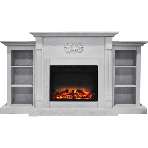 Cambridge 72.3 x15 x33.7  Sanoma Fireplace Mantel with Logs and Grate Insert