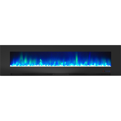 Cambridge 78  Color Changing Wall Mount Fireplace with Crystals Black