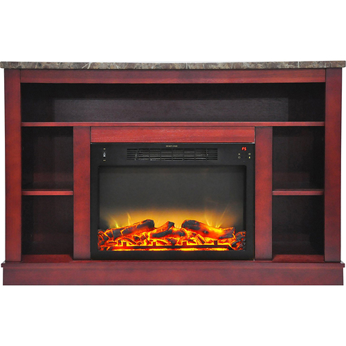 Cambridge 47.2 x15.7 x32.5  Seville Fireplace Mantel with Logs and Grate Insert Cherry