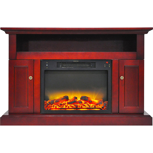 Cambridge 47.2 x15.7 x30.7  Sorrento Fireplace Mantel with Logs and Grate Insert Cherry