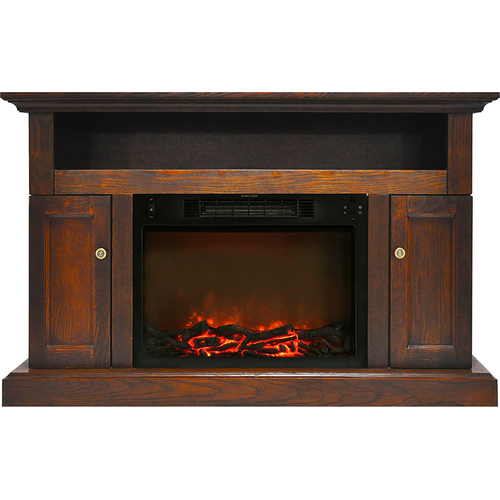 Cambridge 47.2 x15.7 x30.7  Sorrento Fireplace Mantel with Log Insert Walnut