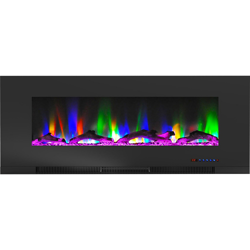 Cambridge 50  Color Changing Wall Mount Fireplace with Logs Black