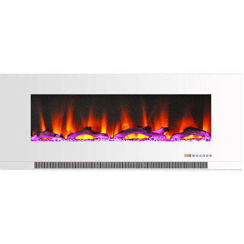 Cambridge 50  Color Changing Wall Mount Fireplace with Logs White