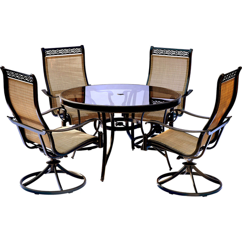 Hanover Monaco 5PC Dining Set:4 Swivel Sling Chairs and 48  Glass Tbl