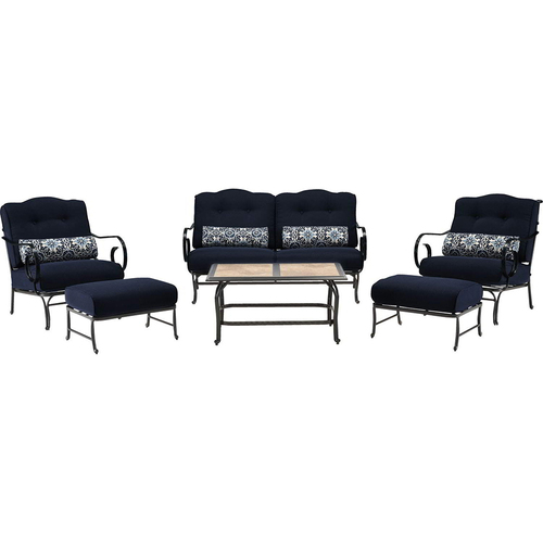 Hanover Oceana 6pc Seating Set: Sofa 2 Side Chrs 2 OttomanTile-Top Coffee Tbl