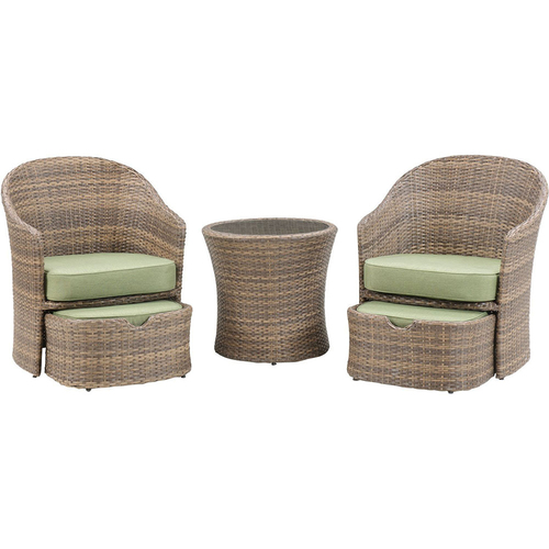 Hanover Seneca 5pc Seating Set: 2 Woven Chairs 2 Ottomans 1 Woven Side Table