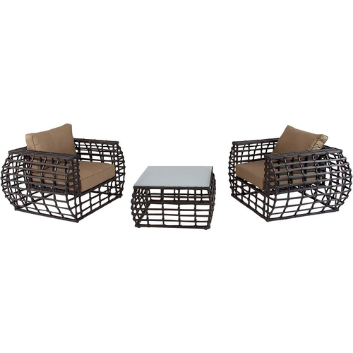Hanover Hanover Soho 3-Piece Rattan Seating Set: 2 Chairs 1 Glass Coffee Table