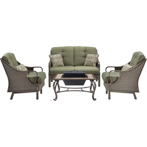 Hanover Ventura 4pc Fire Pit Set: 1 Loveseat 2 Side Chairs 1 Wood Burning FPit